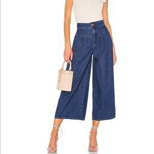 New Free People La Bomba Cropped Wide Jeans 27